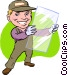 glass repairman Vector Clipart graphic