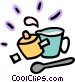 Measuring cup with pot and Vector Clipart illustration