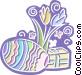 Easter egg, Easter flowers Vector Clip Art image