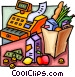 Cash register and groceries Vector Clip Art picture