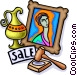Auction with painting and vase Vector Clip Art picture