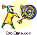 Woman throwing darts Vector Clipart picture