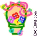 Gift basket, flowers Vector Clip Art graphic
