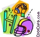 Helmets and Pads Vector Clipart graphic