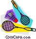 Badminton rackets and birdie Vector Clip Art image
