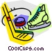 Hockey stick with skates and Vector Clip Art graphic
