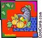 Cornucopia with fall harvest Vector Clipart graphic