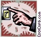 hand turning off a light Vector Clipart graphic