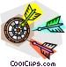 Darts and dartboard Vector Clipart graphic