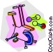 Stationary bike and weights Vector Clipart graphic
