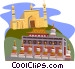 Xinjiang Id Kah Mosque Qinghai Province Ta'er Temple Vector Clipart illustration