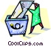 document being placed in trash Vector Clipart graphic
