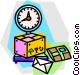 packages being weighed Vector Clip Art graphic