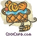 basket of fresh baked goods Vector Clip Art image