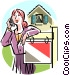 Real estate agent on the telephone Vector Clipart graphic