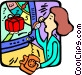 woman on the phone watching TV Vector Clipart picture