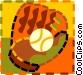 baseball and baseball glove Vector Clipart graphic