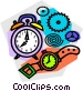alarm clock and wristwatches Vector Clip Art image