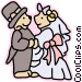 Bride and groom bears Vector Clip Art image