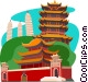Chinese temple on hillside Vector Clip Art image