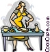 woman preparing sandwiches Vector Clipart graphic