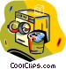 dryer and clothes basket Vector Clipart graphic