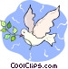 white dove with an olive branch Vector Clipart illustration