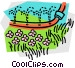soaker hose watering the lawn Vector Clipart graphic