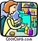 Doctor with a microscope Vector Clip Art picture