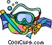 Snorkeling equipment and fish Vector Clipart graphic