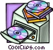 computer with a CD rom drive Vector Clip Art image
