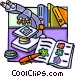 Microscope with books Vector Clip Art graphic