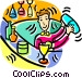 bartender mixing drinks at a Vector Clipart illustration