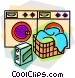 laundry machines with laundry Vector Clip Art graphic