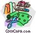 cutting fabric Vector Clipart image