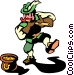 Leprechaun playing the flute Vector Clipart picture