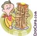 boy eating pancakes Vector Clipart illustration