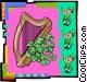 Laprechaun with harp and clovers Vector Clip Art picture