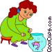 girl watching a fish in a fish Vector Clipart illustration
