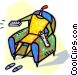 sitting in a chair with the remote control Vector Clipart image
