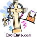 crosses in a grave yard with castle Vector Clip Art graphic