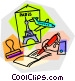 Paris vacation with airline Vector Clipart illustration