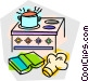 cooking on the stove Vector Clip Art picture