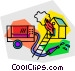 house on fire with fire truck Vector Clip Art picture