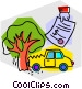 Car accident with repair bill Vector Clip Art picture