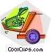 garbage can and garbage truck Vector Clipart image