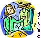 woman with clothes on a rack Vector Clip Art image