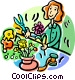 florist working with flowers Vector Clip Art graphic