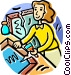 Woman repairing a picture Vector Clip Art picture