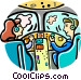 airline pilots flying the Vector Clip Art graphic